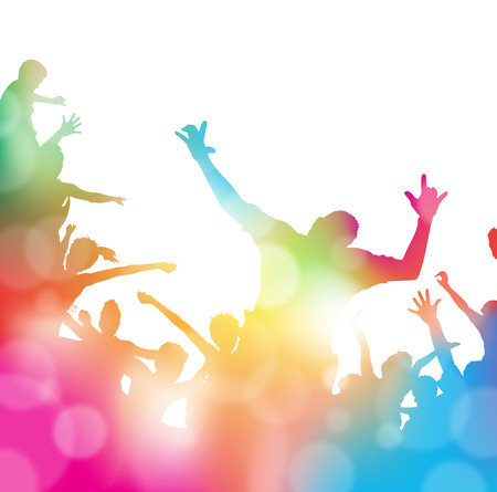 Colorful abstract illustration of a Young People dancing and Leaping through a haze of musical notes and summer blurs. Illustration