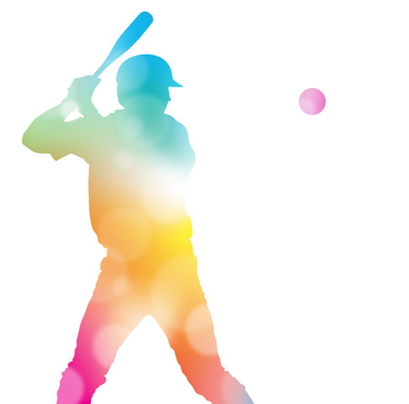 Colorful abstract illustration of a Baseball Player hitting a Home Run through a haze of summer blurs. Stock Illustratie