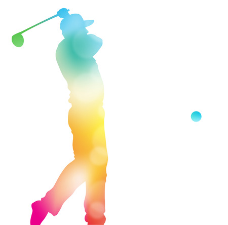 Colorful abstract illustration of a Golfer driving high to hit a hole in one in this Championship Tournament through a haze of summer blurs. Stock Illustratie