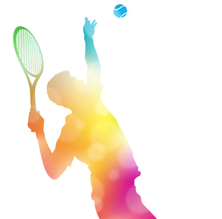 acion: Colorida ilustración abstracta de un jugador de tenis que sirve alto a alcanzar un as en este duelo por el título a través de una bruma de desenfoques de verano. Vectores