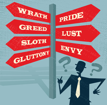 characteristic: Great illustration of Retro styled Businessman at a Seven Deadly Sins Signpost with a selection of Characteristic related options and choices to make. Illustration