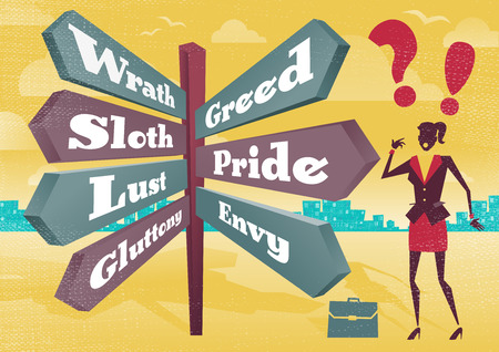Great illustration of Retro styled Businesswoman with a selection of Business related options with the theme of the Seven Deadly Sins and choices to make. Not many Business People are free of these Morally corrupt characteristics.