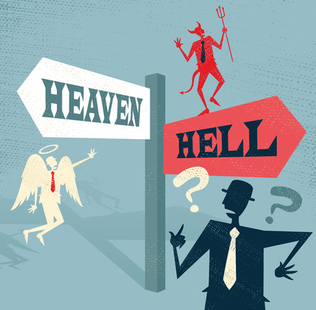 Great illustration of Retro styled Businessman at a Heaven and Hell Signpost with both and Angel and a Devil to help make a difficult moral dilemma.