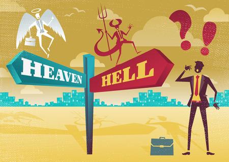 conciencia moral: Gran ejemplo de estilo retro Hombre de negocios con una selecci�n de opciones de negocio moralidad relacionados con el tema del Cielo y el Infierno y opciones para hacer.