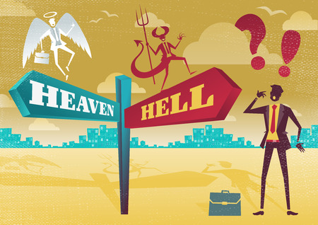 Great illustration of Retro styled Businessman with a selection of Business Morality related options with the theme of the Heaven and Hell and choices to make. Ilustração