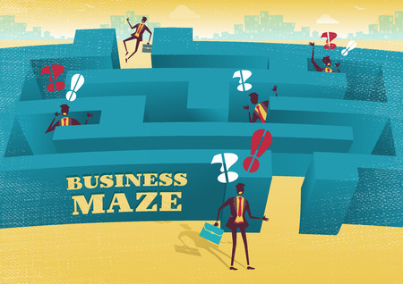 Great illustration of Retro styled Businessman with a very difficult task ahead of him to find his way through a maze to the other side. His rivals have already found out how difficult the journey can be.