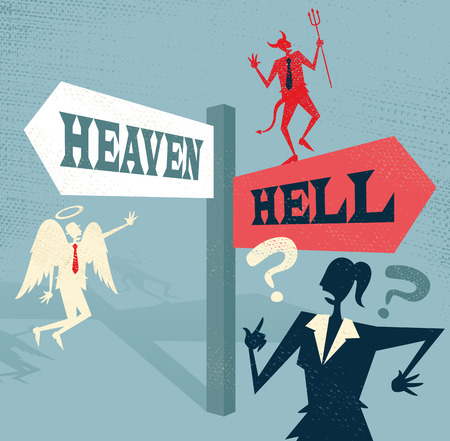 Great illustration of Retro styled Businesswoman at a Heaven and Hell Signpost with both and Angel and a Devil to help make a difficult moral dilemma.