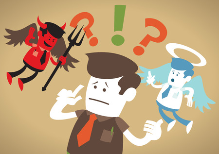 good and bad: Great illustration of Retro styled Corporate Guy caught up in a Catch-22 battle of wills with both a devil and an angel helping him to decide.