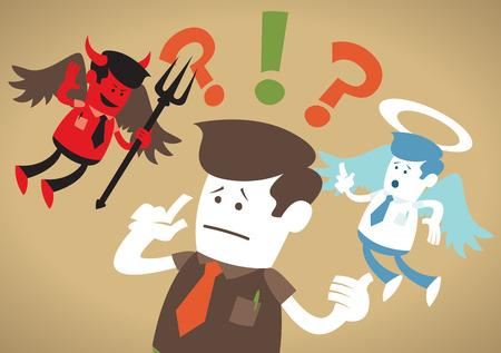 satan: Große Illustration von Retro-Design Unternehmenskerl in einem Catch-22 Machtkampf mit beiden ein Teufel und ein Engel ihm zu helfen, zu entscheiden, gefangen.