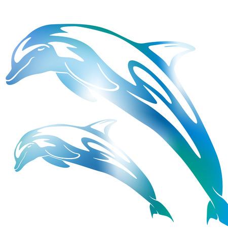 Piękne abstrakcyjna ilustracja szczęśliwą parą Silhouette Bottlenose delfiny skaczące i skoki w Rozmyte mgłę Ocean kolory niebieski i zielony.
