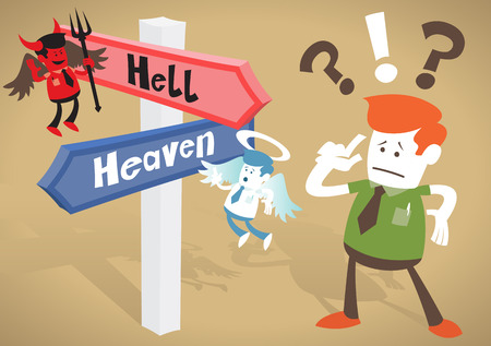 predicament: Great illustration of Retro styled Corporate Guy caught up in a Catch-22 battle of wills with both a devil and an angel helping him to decide at Heaven and Hell Signpost. Illustration