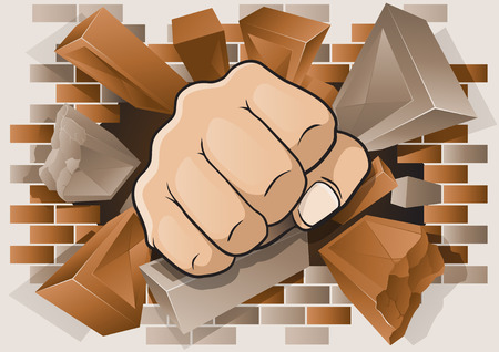 puños cerrados: Ilustración explosivo y dinámico de un Puñetazo Puño de dibujos animados romper a través de una pared de ladrillo de hormigón y. Vectores