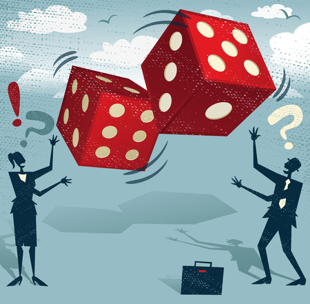 game show: Abstract Business People take the ultimate gamble on their business futures by playing with the Gambling Dice of Fortune. Foolish or Brave.