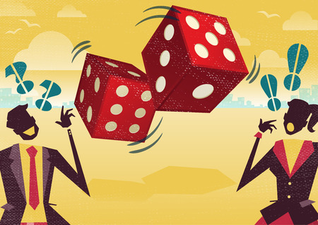 Great illustration of Retro styled Business rivals gambling their financial futures on the big spinning Dice of Business Fortune hoping to win first place in the business world. Vectores