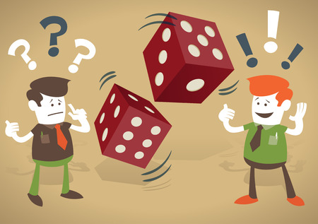 Corporate Guys play a risky business game and gamble on their financial futures with casino dice.