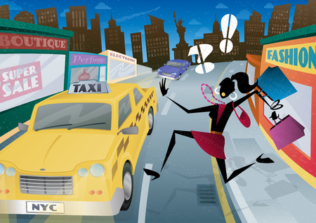 woman run: Illustration of a fashionable but worried young woman shopper who is waving and calling for the last Taxi home in the streets of New York City.