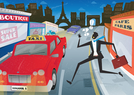 Illustration of a Suited but worried young Businessman who is waving and calling for the last Taxi home in the streets of Paris City.