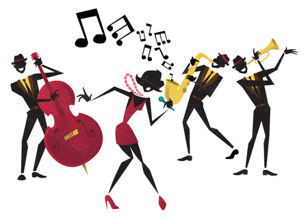 jazz band: Abstract style illustration of a vibrant Jazz band and super cool lead singer who is striking a stylish pose and playing a musical performance live on stage.