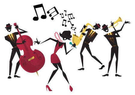 Ilustración de estilo abstracto de una banda de jazz vibrante y cantante super cool plomo que llama la atención una pose elegante y jugar una actuación musical en vivo en el escenario.