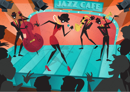 Abstract style illustration of a vibrant Jazz band and super cool lead singer who is striking a stylish pose and playing a musical performance live on stage at a busy nightlife club cafe. Illustration