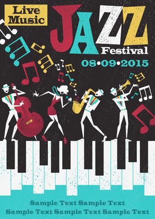 Retro estilo Jazz Festival Cartel que ofrece un estilo de ilustración abstracta de una banda de jazz vibrante y cantante super cool plomo que llama la atención una pose elegante y jugar una actuación musical en vivo en el escenario. Ilustración de vector