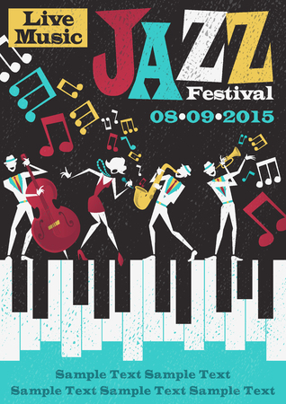 Retro styled Jazz festival Poster featuring an Abstract style illustration of a vibrant Jazz band and super cool lead singer who is striking a stylish pose and playing a musical performance live on stage.
