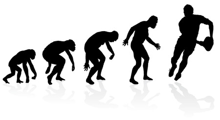 hunched: Evolution of the Rugby Player. Great illustration of depicting the evolution of a male from ape to man to Rugby Player in silhouette.