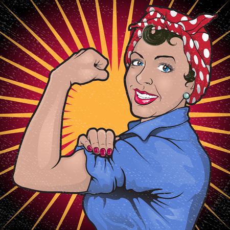 obrero caricatura: Gran ejemplo de un retro Stong Potente mujer inspirado en el cartel de la propaganda de la Segunda Guerra Mundial famosa de Rosie la remachadora llamando a las mujeres a jugar su parte en el esfuerzo de guerra