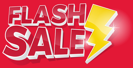Ultra Dynamic 3D Flash Sale Sign with Bright Yellow Lightening Bolt. Stock Illustratie