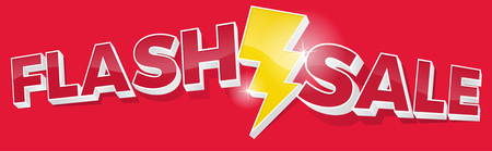 Ultra Dynamic 3D Flash Sale Sign with Bright Yellow Lightening Bolt. Illustration