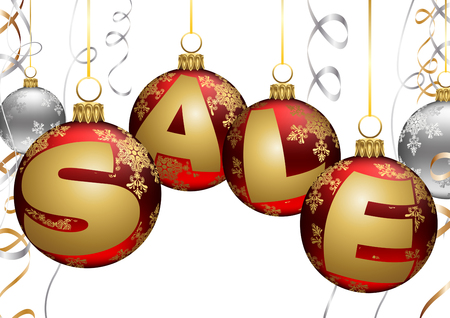 Superb illustration of Christmas sale sign on red baubles over white background.