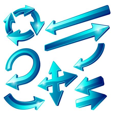 flechas: Ultra brillante conjunto Blue Arrow Icon din�mico 3D. Utilice estas vidrio estilo s�per brillantes iconos de flecha para se�alar las mejores partes de su presentaci�n.