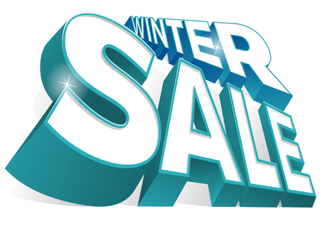 Great illustration of an ultra dynamic Winter Sale 3D Sign.