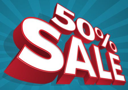 sell off: Great illustration of an ultra dynamic 50  Sale 3D Sign.