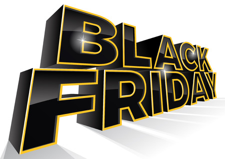 retail sales: Black Friday is the day following Thanksgiving Day in the United States. This ultra dynamic 3D illustration is a great way to promote the sales on offer in the retail workplace.