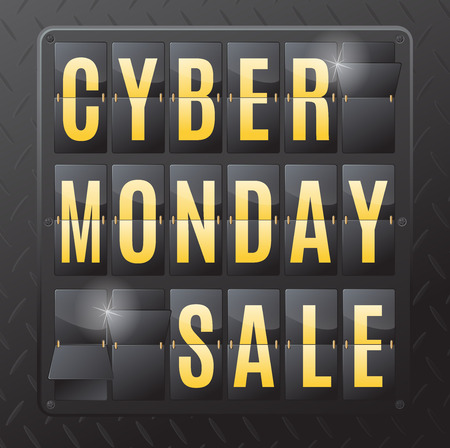 discount banner: Cyber Monday is the day following Thanksgiving Day in the United States. This ultra dynamic 3D illustration of a flip countdown calendar is a great way to promote the sales on offer.
