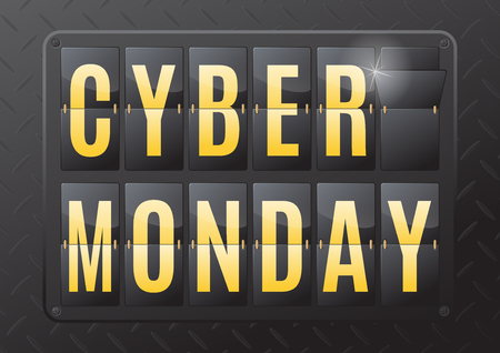 contagem regressiva: Cyber Monday is the day following Thanksgiving Day in the United States. This ultra dynamic 3D illustration of a flip countdown calendar is a great way to promote the sales on offer.