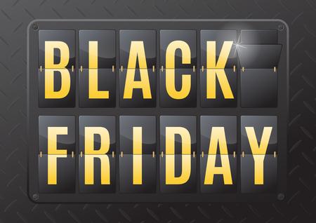 Black Friday est le jour suivant la fête de Thanksgiving aux États-Unis. Cette illustration 3D ultra dynamique d'un calendrier acier flip compte à rebours est un excellent moyen de promouvoir les ventes sur l'offre dans le milieu de travail de détail. Banque d'images - 46054362