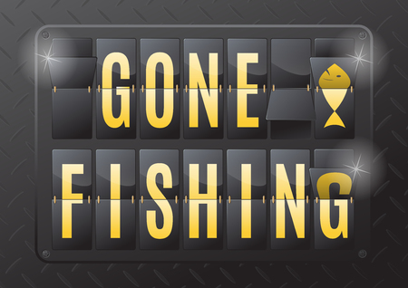 gone: Gone Fishing is the sign to let the world know you are unavailable. This ultra dynamic 3D illustration of a steel flip countdown calendar is a great way to inform of your time away. Illustration