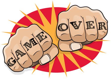 Vintage Pop Art Game Over Ponsen Fists. Grote illustratie van pop art comic book-stijl ponsen direct aan u met de klassieke hooligan tattoo bericht.