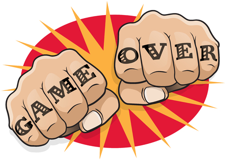 clenched: Vintage Pop Art Game Over Punching Fists. Great illustration of pop Art comic book style punching directly at you with the classic hooligan tattoo message.