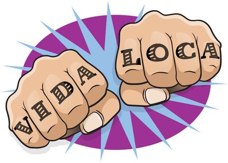 Vintage del arte pop Vida Loca Hacer el puño. Gran ejemplo de pop cómico Arte perforación del estilo del libro directamente a usted con el mensaje del tatuaje clásico. Foto de archivo - 46790382