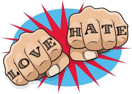 Pop Art Vintage Love and Hate Hacer el puño. Gran ejemplo de pop cómico Arte perforación del estilo del libro directamente a usted con el mensaje tatuaje hooligan clásico. Ilustración de vector
