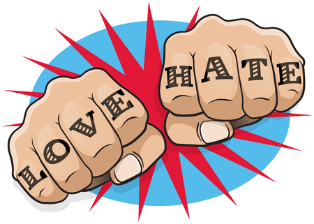 Vintage Pop Art Love and Hate Punching Fists. Great illustration of pop Art comic book style punching directly at you with the classic hooligan tattoo message.