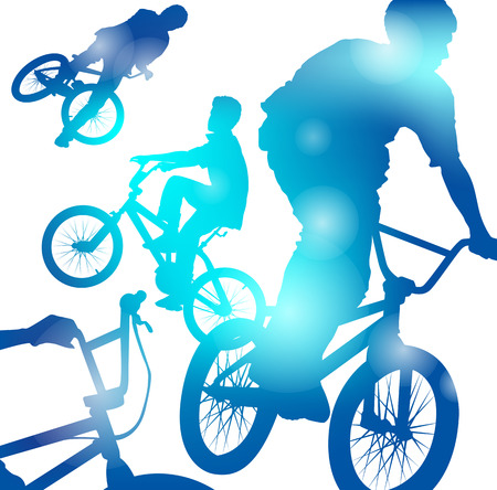 blurs: Abstract illustration of a Young Jumping and Freestyling on BMX Bikes through a haze of Cool Blue blurs.