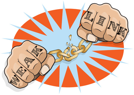 Pop Art Chained Fists Weak Link Tattoo. Great illustration of Pop Art Chained Fists with Weak Link Tattoo breaking free from the shackles of imprisonment in an act of defiance and redemption.