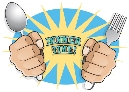 impatient: Pop Art Dinner Time Fists with Cutlery. Great illustration of pop Art comic book style fists holding cutlery in anticipation of a well earned dinner or breakfast. Illustration