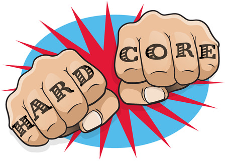 Vintage Pop Art Hard Core Tattoo Fists. Great illustration of pop Art comic book style fists punching directly at you with the classic hooligan tattoo message.