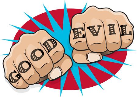 Vintage del arte pop bueno malo Hacer el puño. Gran ejemplo del arte pop del estilo del cómic apretó las manos de perforación directamente a usted con el mensaje del tatuaje clásico. Ilustración de vector