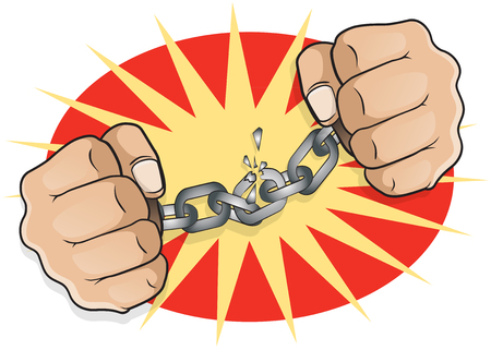 Pop Art Chained Fists. Great illustration of pop Art comic book style fists breaking free from the shackles of imprisonment in an act of defiance and redemption.